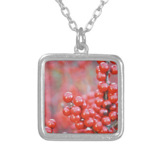 Christmas berries red silver plated necklace