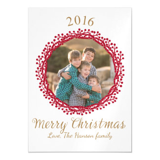 Christmas berry wreath photo card magnetic invitations
