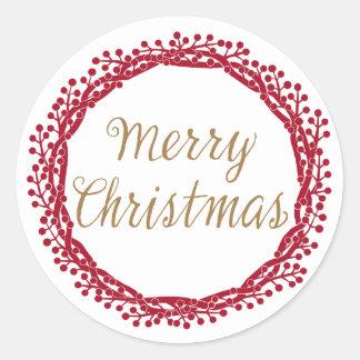 Christmas berry wreath sticker
