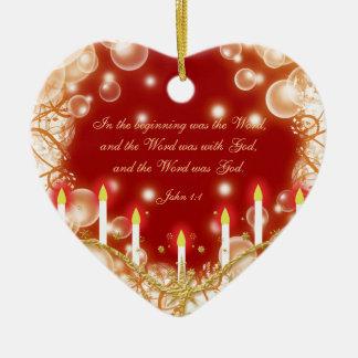 Christmas bible verse elegant traditional ceramic heart decoration