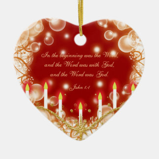 Christmas bible verse elegant traditional ceramic ornament
