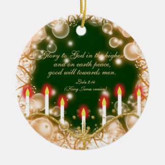 Christmas bible verse elegant traditional round ceramic decoration