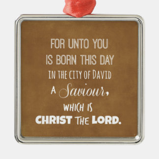 Christmas Bible Verse Silver-Colored Square Decoration