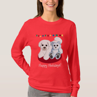 Christmas Bichon Frise Dog and Teddy Bear Shirt