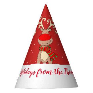 Christmas big antlers reindeer red name hat