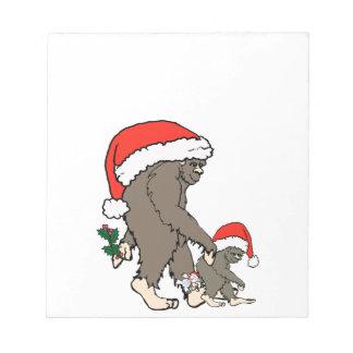 Christmas Bigfoot Family Notepad
