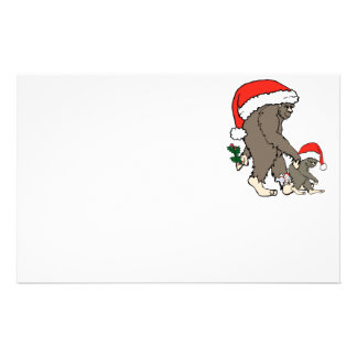 Christmas Bigfoot Family Personalized Stationery