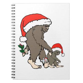 Christmas Bigfoot Family Spiral Notebook