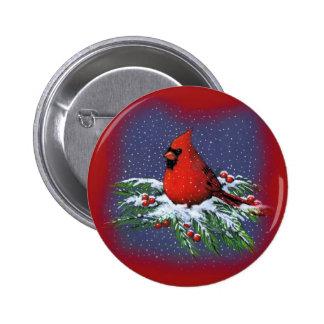 CHRISTMAS BIRD: CARDINAL: ART 6 CM ROUND BADGE
