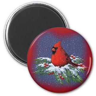 CHRISTMAS BIRD: CARDINAL: ART MAGNET