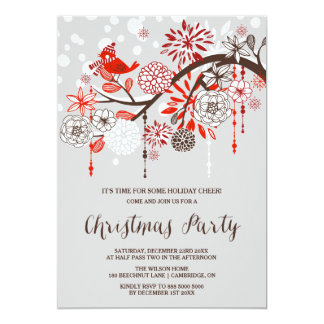 Christmas Bird Floral Holiday Party Invitation