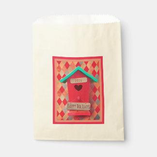 Christmas Bird House Ecru Favor Bag