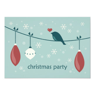 Christmas Bird Party Invitations