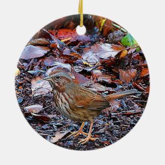 Christmas Bird Round Ceramic Decoration