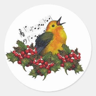 Christmas Bird Singing With Hollly, Berries Round Sticker
