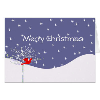 Christmas Bird Snow and Tree Your Photo Inside Card