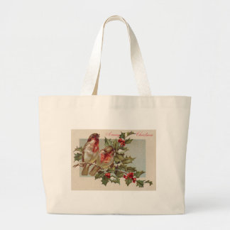 Christmas Bird Songbird Holly Snow Jumbo Tote Bag