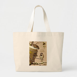 Christmas Bird Sparrow Birdhouse Holly Jumbo Tote Bag