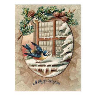 Christmas Bird Tree Pine Cone Postcard
