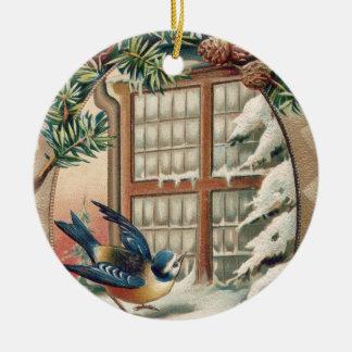 Christmas Bird Tree Pine Cone Round Ceramic Decoration