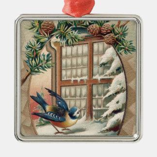 Christmas Bird Tree Pine Cone Silver-Colored Square Decoration