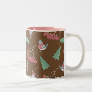 Christmas Birds and Sled Two-Tone Coffee Mug