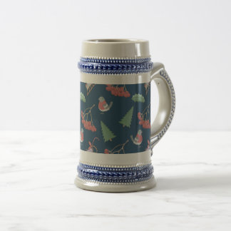 Christmas Birds and Sleds Blue Beer Stein