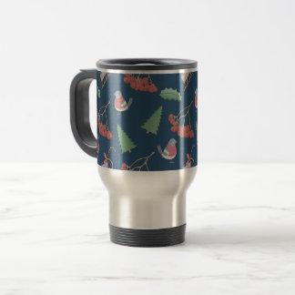 Christmas Birds and Sleds Blue Travel Mug