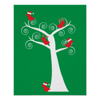 Christmas Birds in a Tree Poster