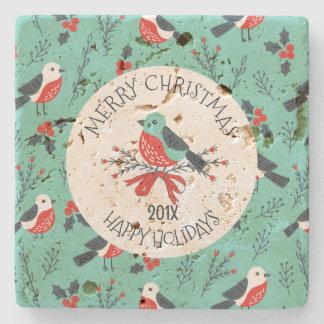 Christmas Birds Pattern Customizable Template Stone Coaster