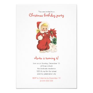 Christmas Birthday Cute Retro Girl Red Poinsettia 11 Cm X 16 Cm Invitation Card