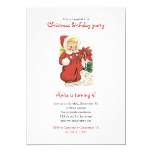 Christmas Birthday Cute Retro Girl Red Poinsettia Invitation