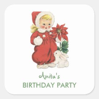 Christmas Birthday Cute Retro Girl Red Poinsettia Square Sticker