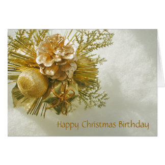 Christmas Birthday Gold Photo Card by Janz