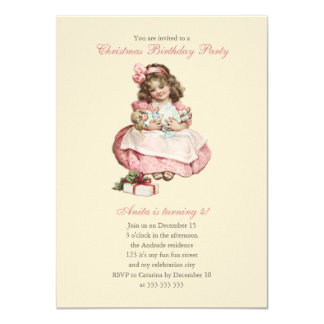 Christmas Birthday Party Vintage Cute Girl Pink 11 Cm X 16 Cm Invitation Card