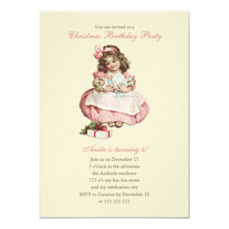 Christmas Birthday Party Vintage Cute Girl Pink Custom Invites