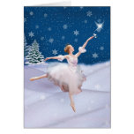 Christmas Birthday with Ballerina in Snow Greeting Cards