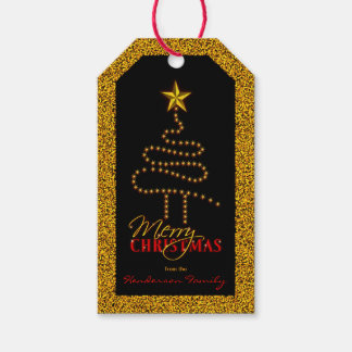 Christmas Black and Gold Abstract Xmas Tree Gift Tags