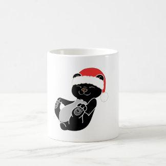 Christmas Black Bear with Red Santa Hat Basic White Mug