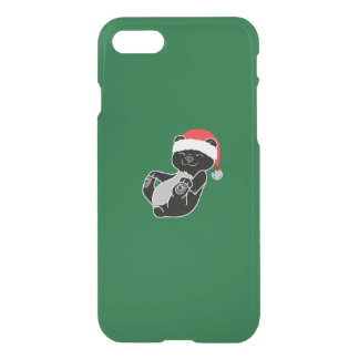 Christmas Black Bear with Santa Hat & Jingle Bell iPhone 7 Case