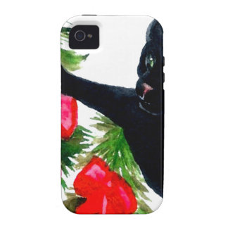 Christmas Black Cat Getting Into Christmas Tree Vibe iPhone 4 Case