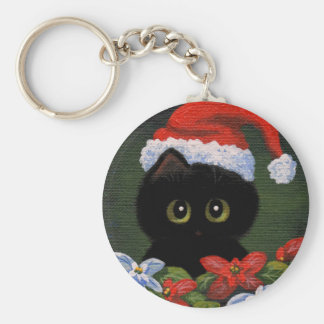 Christmas Black Cat Santa Claus Funny Creationarts Key Ring