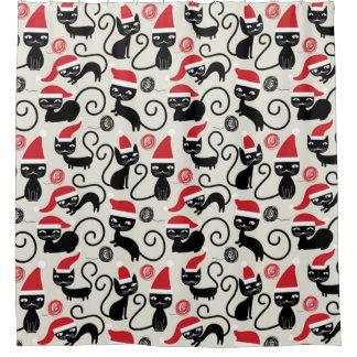 Christmas Black Cat Shower Curtain