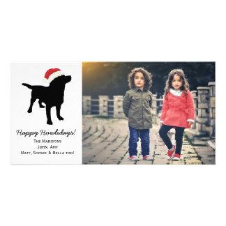 Christmas Black Lab Dog wearing Santa Claus Hat Picture Card