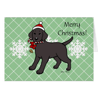 Christmas Black Labrador Puppy Dark Cartoon Card