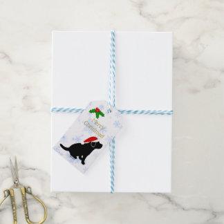 Christmas Black Labrador Puppy Silhouette Gift Tags