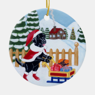 Christmas Black Labrador Santa Painting Ceramic Ornament