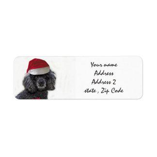 Christmas black Poodle Address Labels