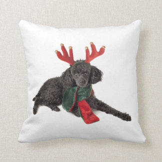 Christmas Black Toy Poodle Dog Dressed as Reindeer Cushion