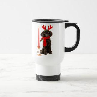 Christmas Black Toy Poodle Dog Dressed as Reindeer Stainless Steel Travel Mug